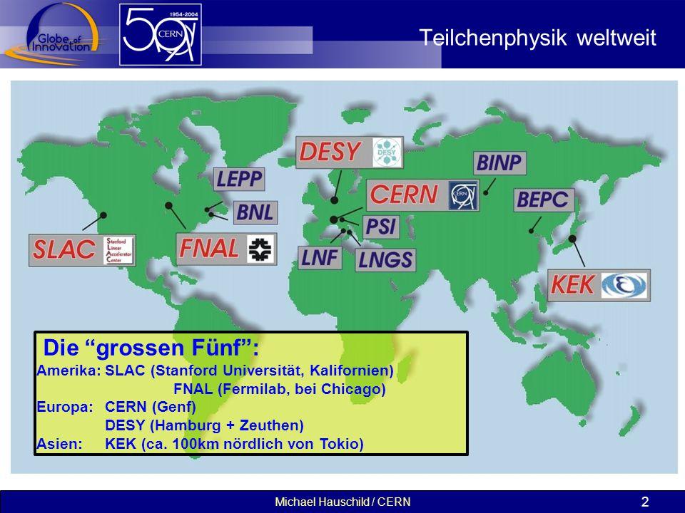 """Michael Hauschild / CERN 2 Teilchenphysik weltweit Die """"grossen Fünf"""": Amerika:SLAC (Stanford Universität, Kalifornien) FNAL (Fermilab, bei Chicago) E"""