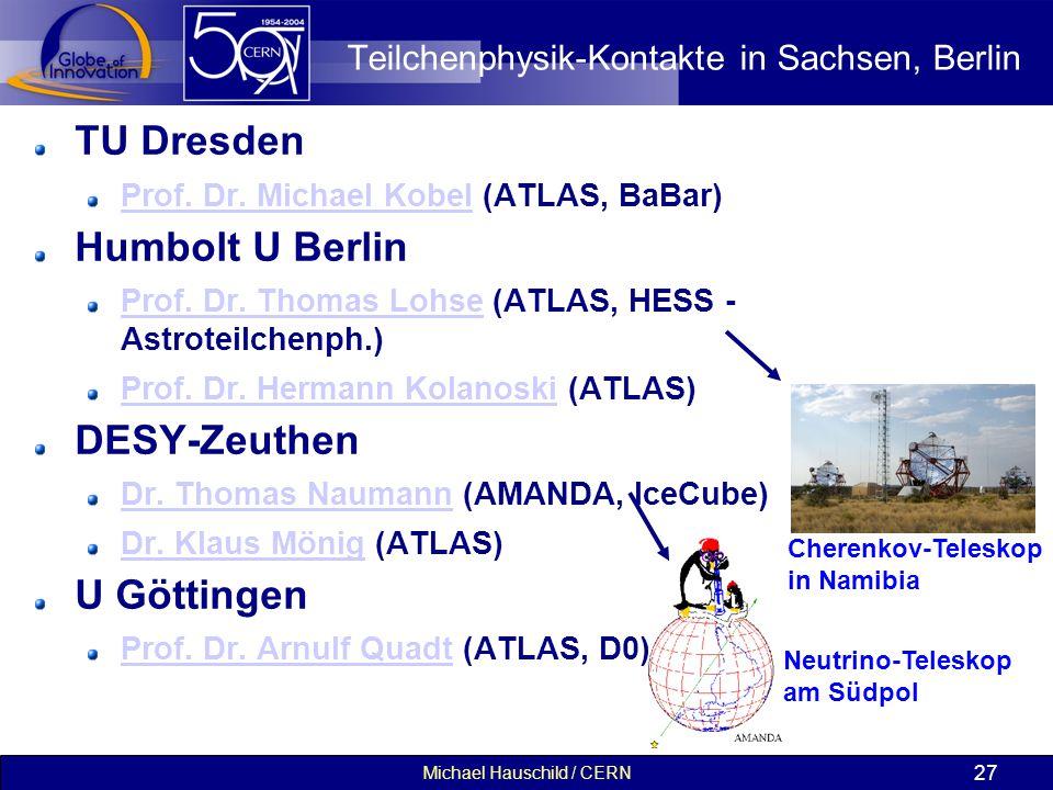 Michael Hauschild / CERN 27 Teilchenphysik-Kontakte in Sachsen, Berlin TU Dresden Prof. Dr. Michael KobelProf. Dr. Michael Kobel (ATLAS, BaBar) Humbol