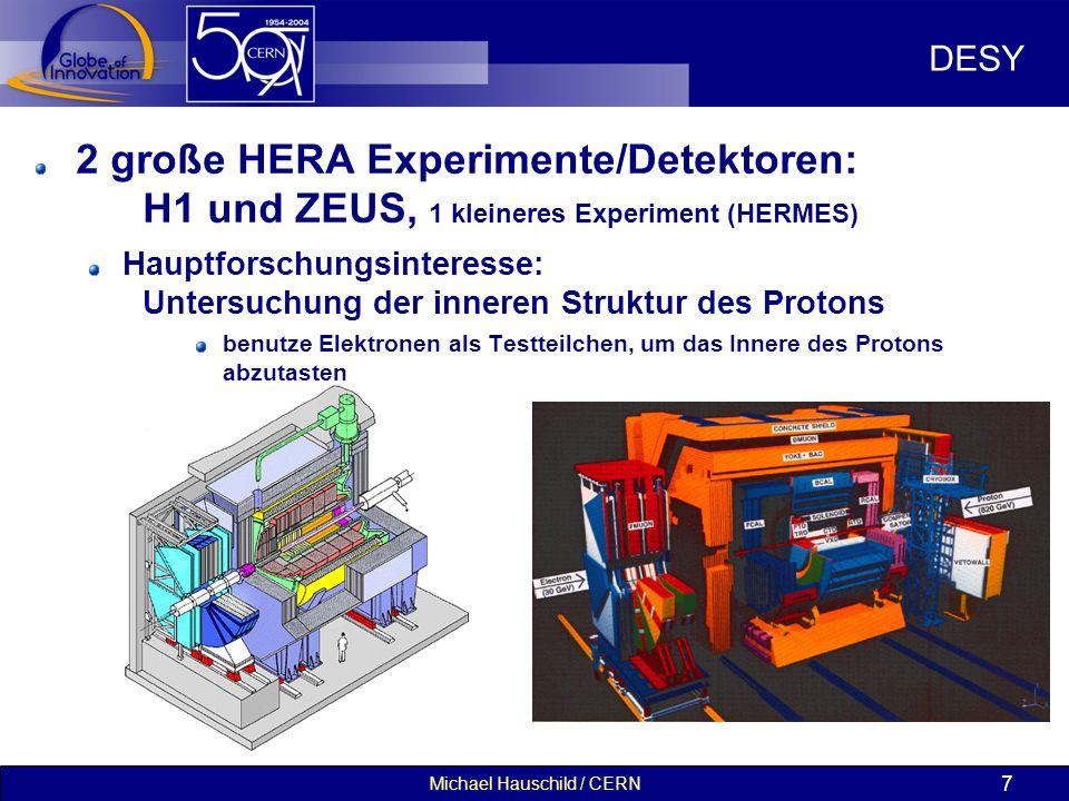 Michael Hauschild / CERN 7 DESY 2 große HERA Experimente/Detektoren: H1 und ZEUS, 1 kleineres Experiment (HERMES) Hauptforschungsinteresse: Untersuchung der inneren Struktur des Protons benutze Elektronen als Testteilchen, um das Innere des Protons abzutasten