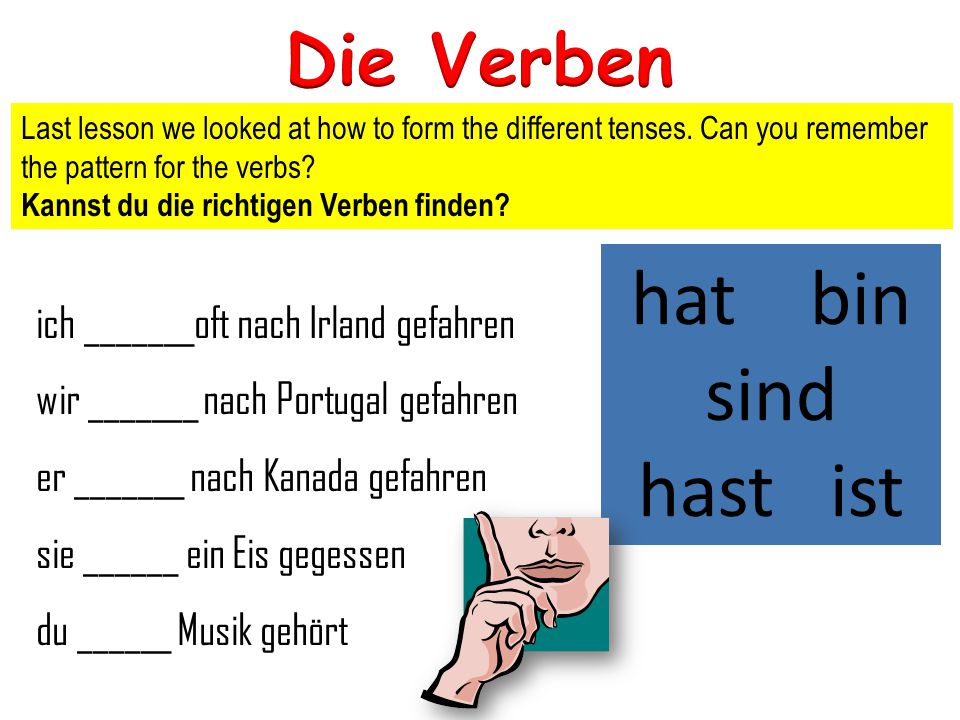 Last lesson we looked at how to form the different tenses. Can you remember the pattern for the verbs? Kannst du die richtigen Verben finden? ich ____