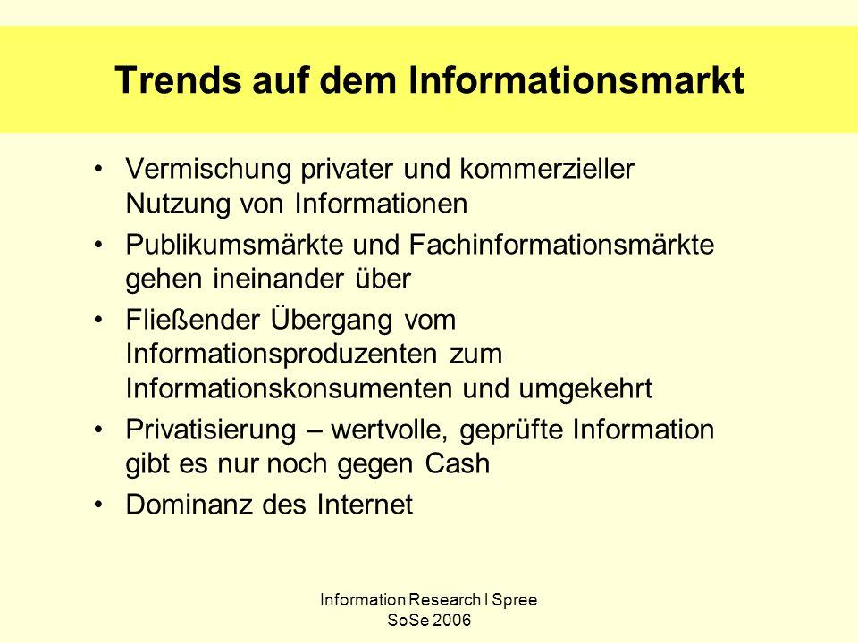 Information Research l Spree SoSe 2006 Trends auf dem Informationsmarkt Vermischung privater und kommerzieller Nutzung von Informationen Publikumsmärk