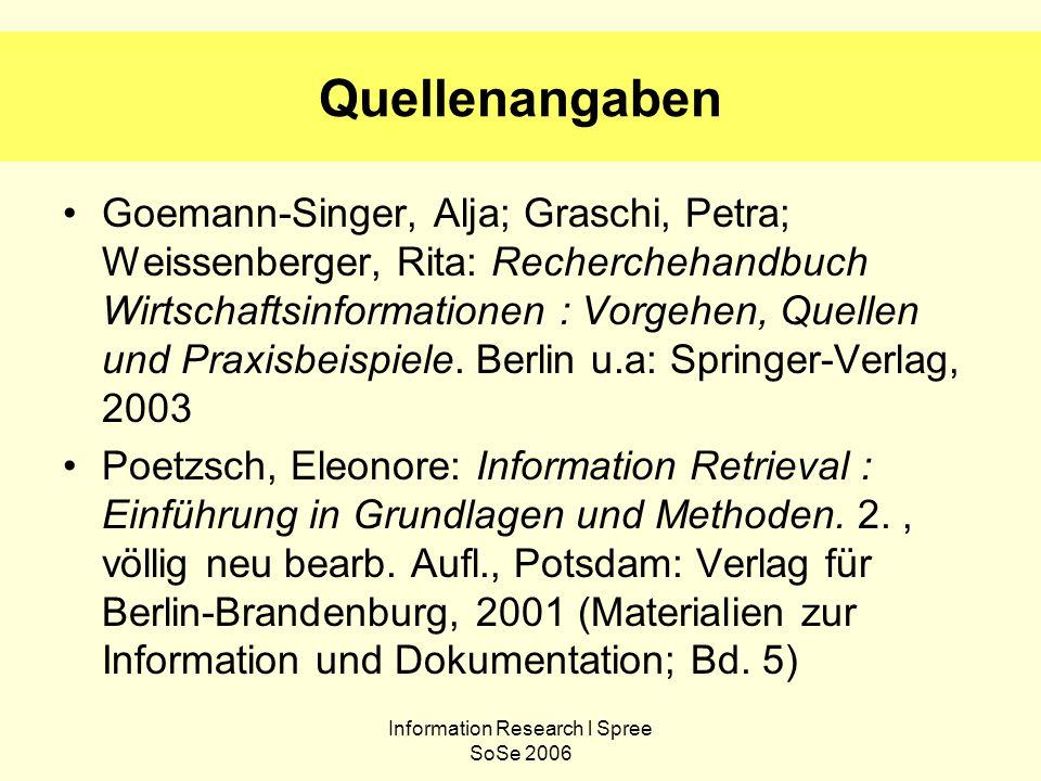 Information Research l Spree SoSe 2006 Quellenangaben Goemann-Singer, Alja; Graschi, Petra; Weissenberger, Rita: Recherchehandbuch Wirtschaftsinformat
