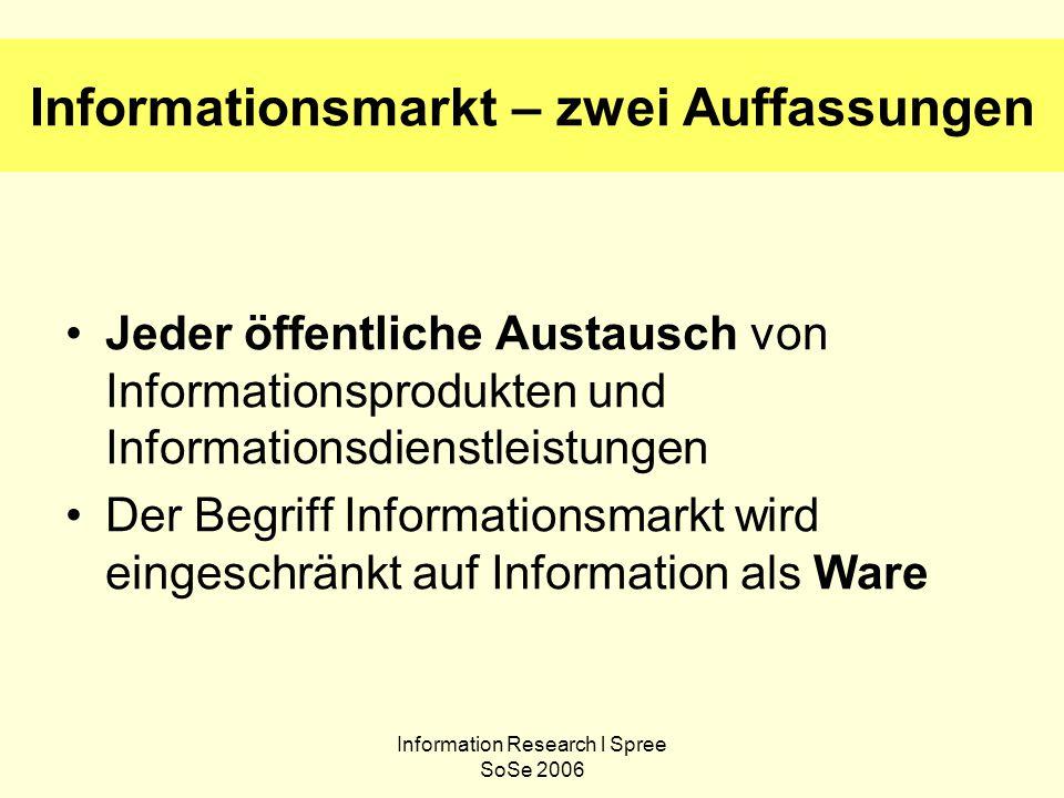 Information Research l Spree SoSe 2006 Informationsmarkt – zwei Auffassungen Jeder öffentliche Austausch von Informationsprodukten und Informationsdienstleistungen Der Begriff Informationsmarkt wird eingeschränkt auf Information als Ware
