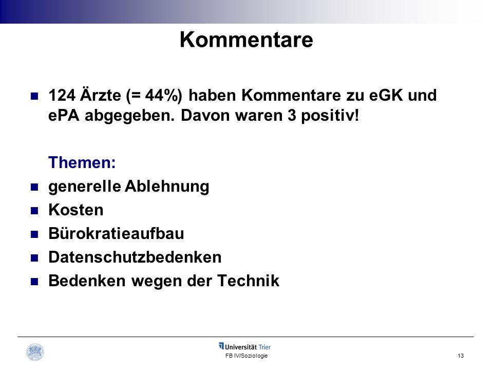 FB IV/Soziologie13 Kommentare 124 Ärzte (= 44%) haben Kommentare zu eGK und ePA abgegeben.