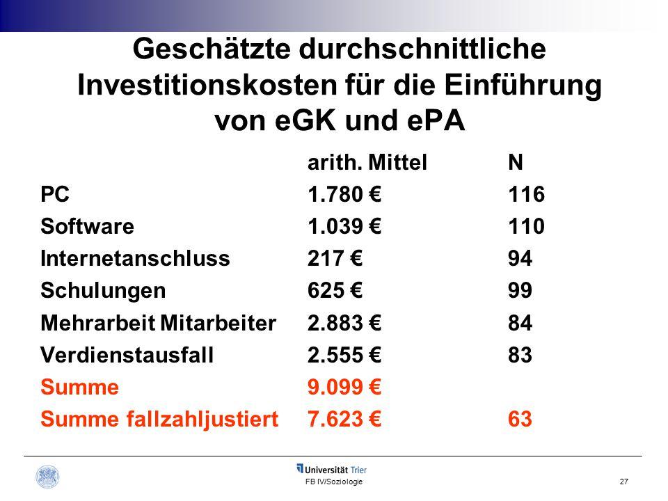 FB IV/Soziologie27 Geschätzte durchschnittliche Investitionskosten für die Einführung von eGK und ePA arith.