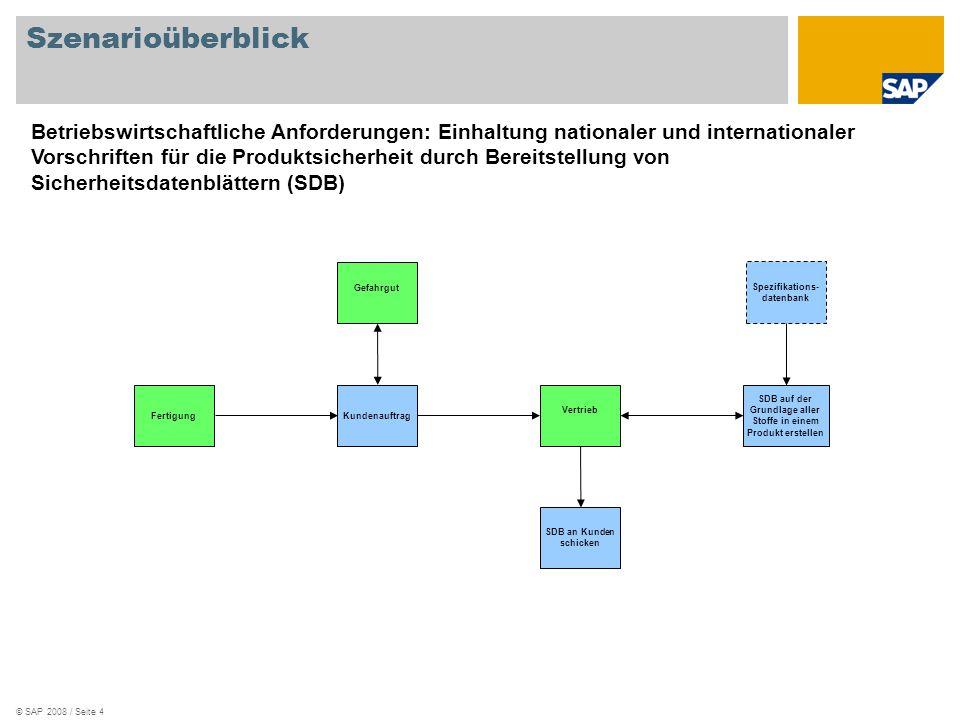 © SAP 2008 / Seite 4 Szenarioüberblick Vertrieb Fertigung Gefahrgut Kundenauftrag SDB an Kunden schicken Spezifikations- datenbank SDB auf der Grundla