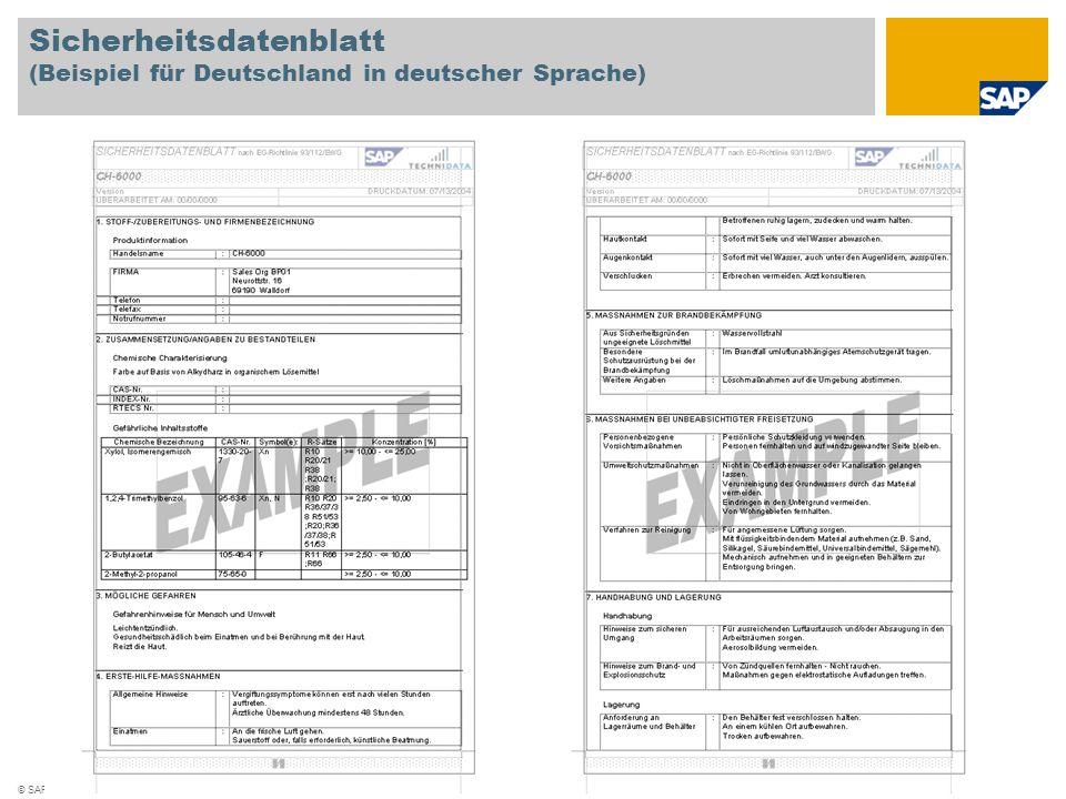 © SAP 2008 / Seite 7 Sicherheitsdatenblatt (Beispiel für Deutschland in deutscher Sprache)