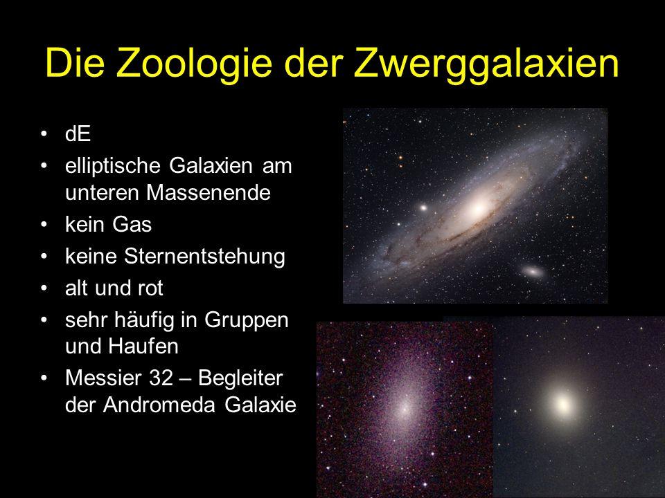 Die Zoologie der Zwerggalaxien dE elliptische Galaxien am unteren Massenende kein Gas keine Sternentstehung alt und rot sehr häufig in Gruppen und Haufen Messier 32 – Begleiter der Andromeda Galaxie