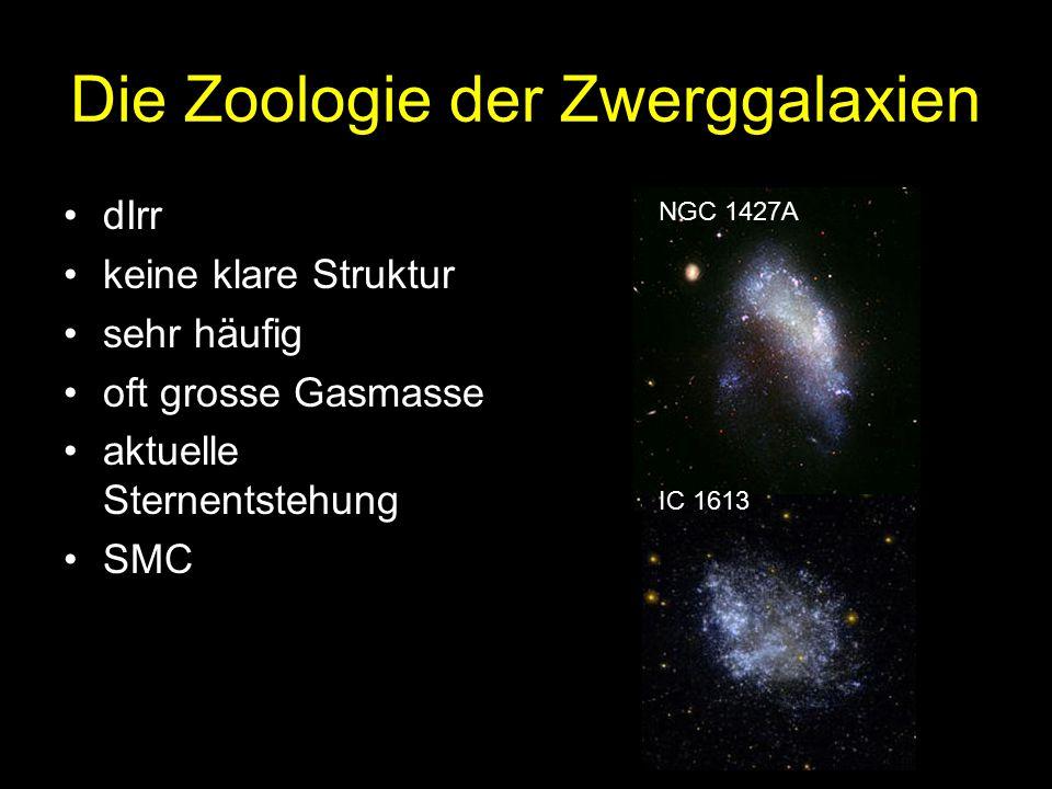 Die Zoologie der Zwerggalaxien dIrr keine klare Struktur sehr häufig oft grosse Gasmasse aktuelle Sternentstehung SMC NGC 1427A IC 1613