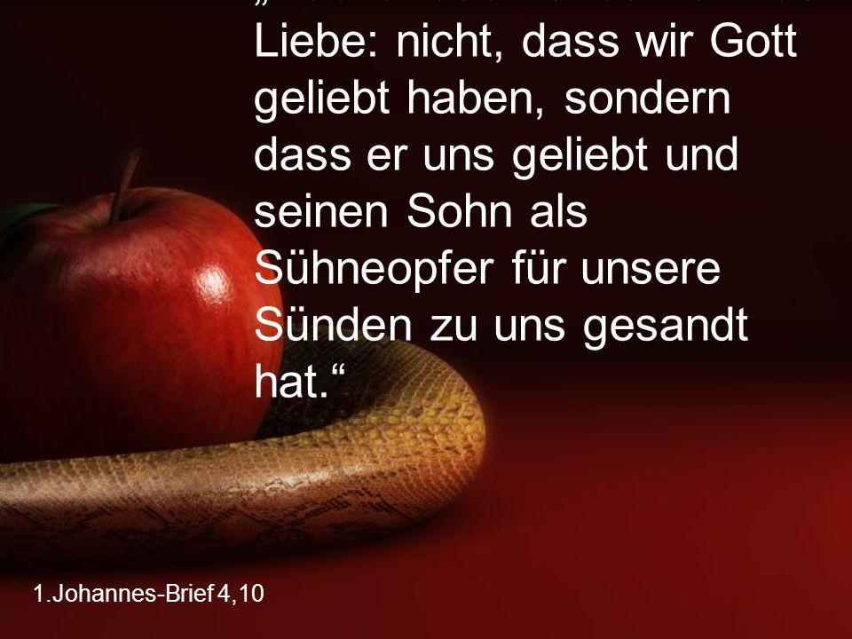 """1.Johannes-Brief 4,10 """"Das ist das Fundament der Liebe: nicht, dass wir Gott geliebt haben, sondern dass er uns geliebt und seinen Sohn als Sühneopfer"""