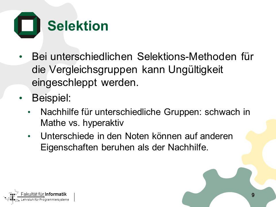 Lehrstuhl für Programmiersysteme Fakultät für Informatik 9 Bei unterschiedlichen Selektions-Methoden für die Vergleichsgruppen kann Ungültigkeit eingeschleppt werden.