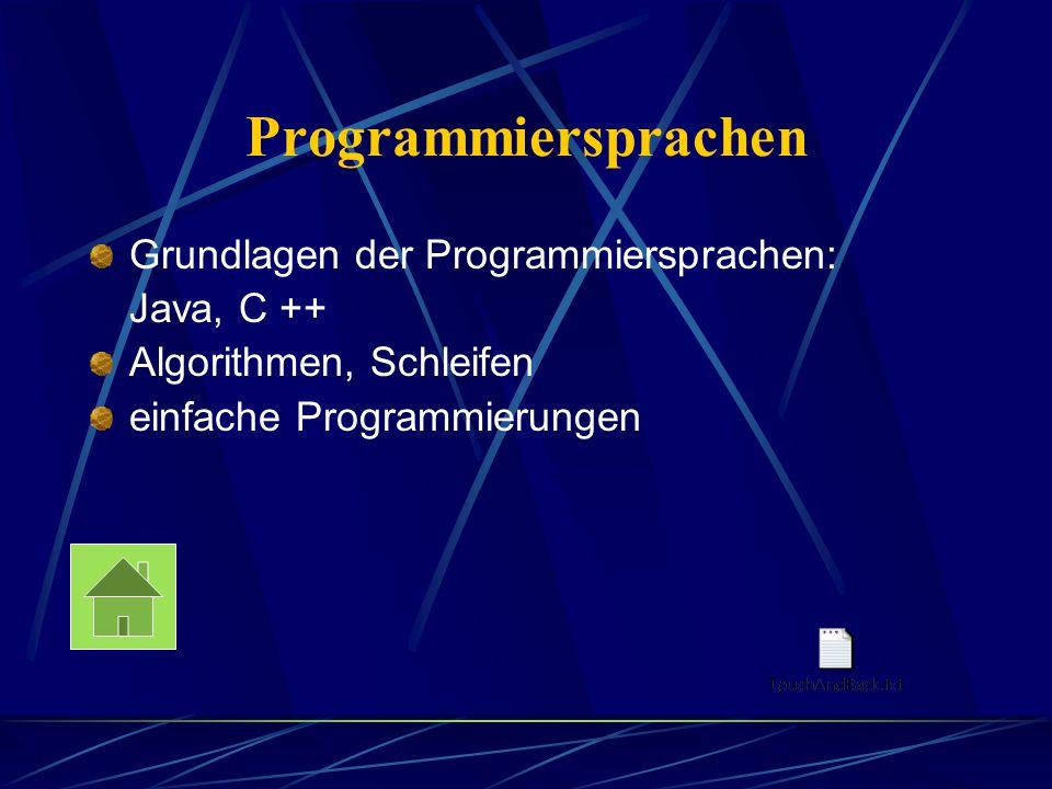 Programmiersprachen Grundlagen der Programmiersprachen: Java, C ++ Algorithmen, Schleifen einfache Programmierungen