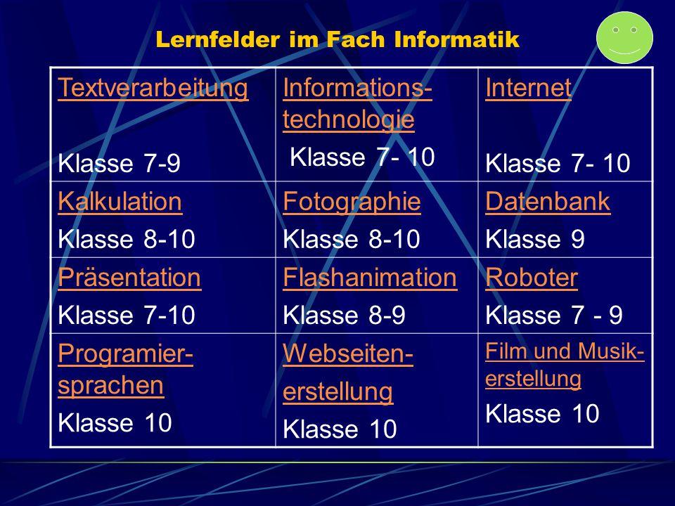 Lernfelder im Fach Informatik Textverarbeitung Klasse 7-9 Informations- technologie Klasse 7- 10 Internet Klasse 7- 10 Kalkulation Klasse 8-10 Fotogra