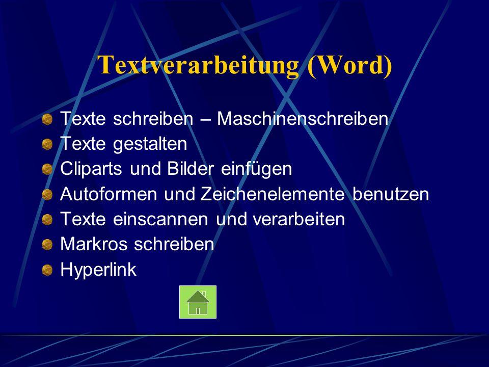 Textverarbeitung (Word) Texte schreiben – Maschinenschreiben Texte gestalten Cliparts und Bilder einfügen Autoformen und Zeichenelemente benutzen Text