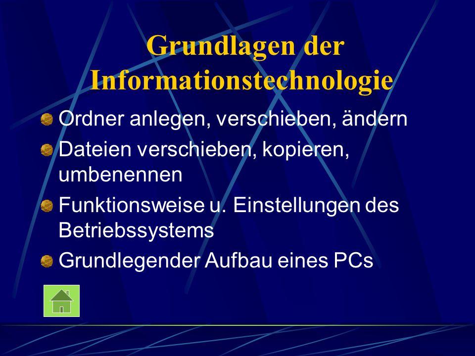 Grundlagen der Informationstechnologie Ordner anlegen, verschieben, ändern Dateien verschieben, kopieren, umbenennen Funktionsweise u. Einstellungen d