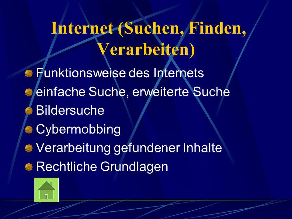 Internet (Suchen, Finden, Verarbeiten) Funktionsweise des Internets einfache Suche, erweiterte Suche Bildersuche Cybermobbing Verarbeitung gefundener