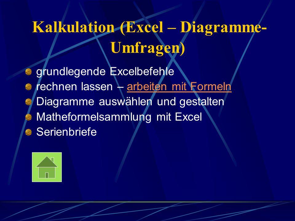 Kalkulation (Excel – Diagramme- Umfragen) grundlegende Excelbefehle rechnen lassen – arbeiten mit Formelnarbeiten mit Formeln Diagramme auswählen und