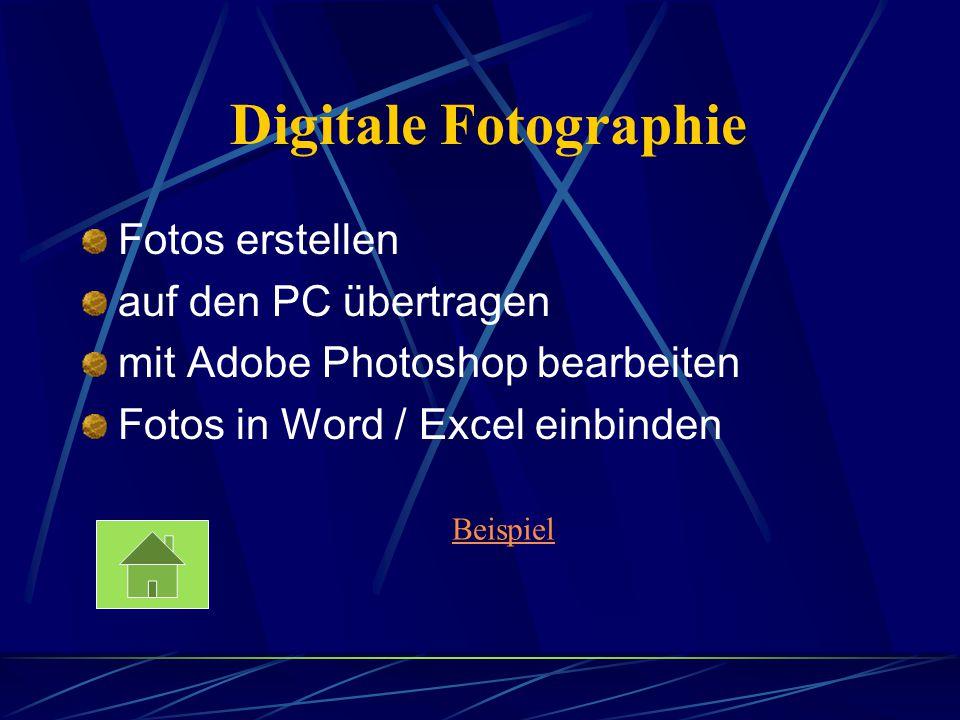 Digitale Fotographie Fotos erstellen auf den PC übertragen mit Adobe Photoshop bearbeiten Fotos in Word / Excel einbinden Beispiel