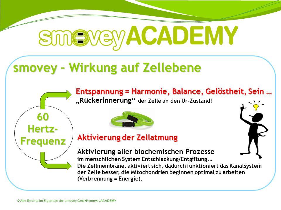 © Alle Rechte im Eigentum der smovey GmbH/ smoveyACADEMY Aktivierung der Zellatmung Aktivierung aller biochemischen Prozesse im menschlichen System En
