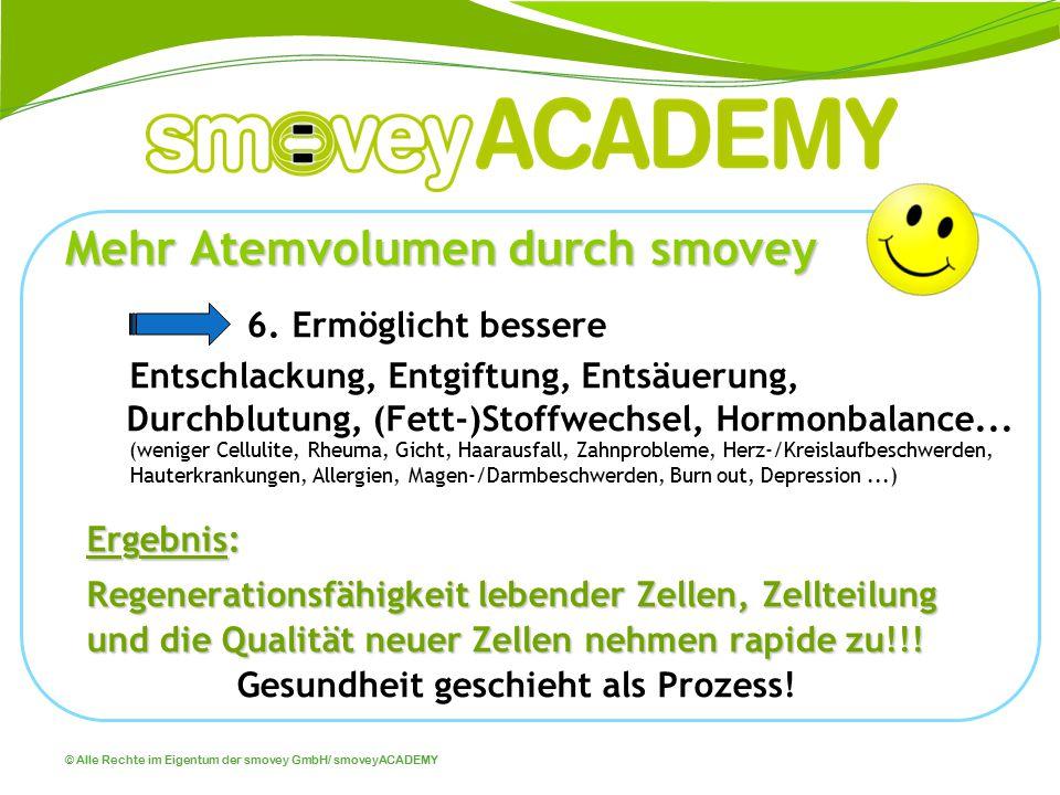 © Alle Rechte im Eigentum der smovey GmbH/ smoveyACADEMY Mehr Atemvolumen durch smovey 6. Ermöglicht bessere Entschlackung, Entgiftung, Entsäuerung, D