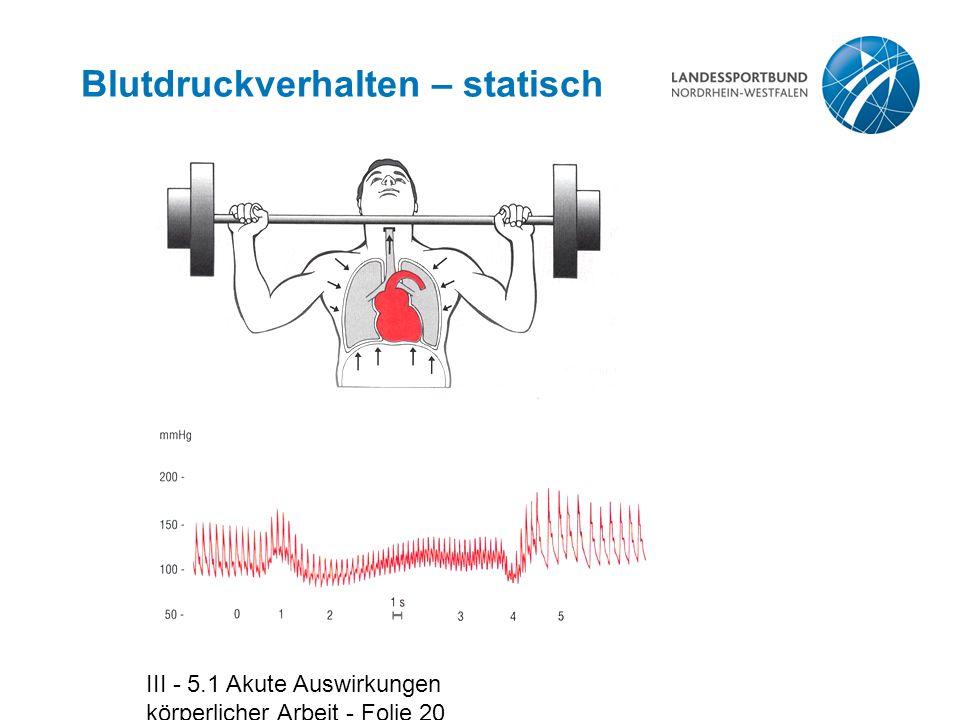 III - 5.1 Akute Auswirkungen körperlicher Arbeit - Folie 20 Blutdruckverhalten – statisch