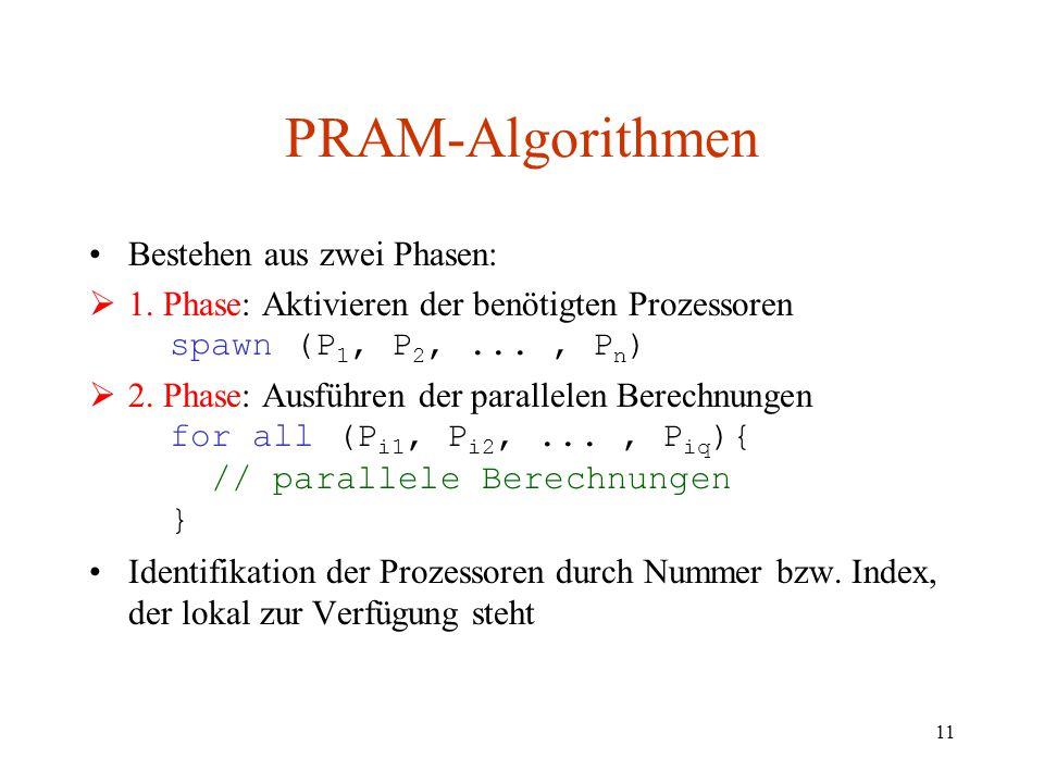 11 PRAM-Algorithmen Bestehen aus zwei Phasen:  1. Phase: Aktivieren der benötigten Prozessoren spawn (P 1, P 2,..., P n )  2. Phase: Ausführen der p