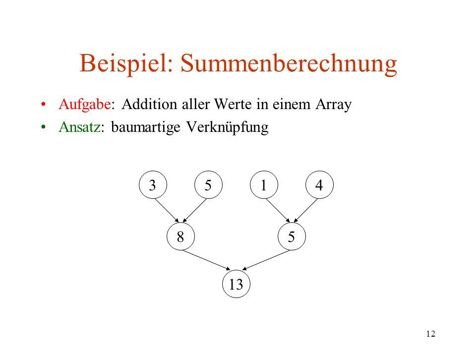 12 Beispiel: Summenberechnung Aufgabe: Addition aller Werte in einem Array Ansatz: baumartige Verknüpfung 3514 85 13