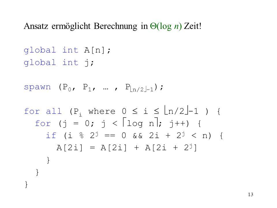Ansatz ermöglicht Berechnung in  (log n) Zeit! global int A[n]; global int j; spawn (P 0, P 1, …, P  n/2  -1 ); for all (P i where 0  i   n/2 