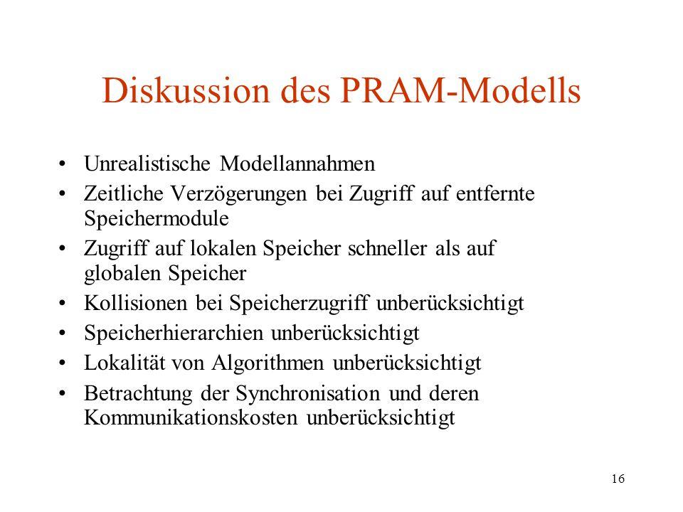 16 Diskussion des PRAM-Modells Unrealistische Modellannahmen Zeitliche Verzögerungen bei Zugriff auf entfernte Speichermodule Zugriff auf lokalen Spei