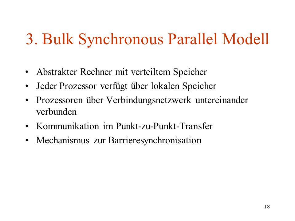 18 3. Bulk Synchronous Parallel Modell Abstrakter Rechner mit verteiltem Speicher Jeder Prozessor verfügt über lokalen Speicher Prozessoren über Verbi