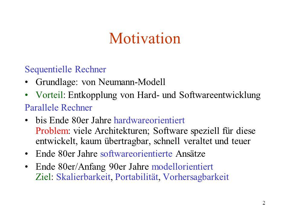 2 Motivation Sequentielle Rechner Grundlage: von Neumann-Modell Vorteil: Entkopplung von Hard- und Softwareentwicklung Parallele Rechner bis Ende 80er