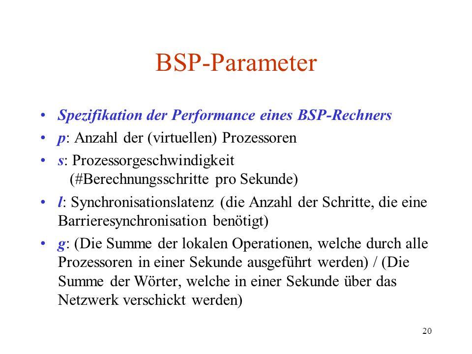 20 BSP-Parameter Spezifikation der Performance eines BSP-Rechners p: Anzahl der (virtuellen) Prozessoren s: Prozessorgeschwindigkeit (#Berechnungsschr