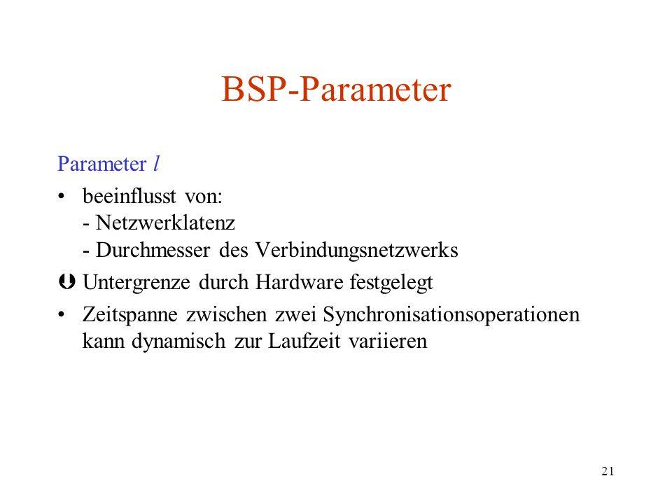 21 Parameter l beeinflusst von: - Netzwerklatenz - Durchmesser des Verbindungsnetzwerks ÞUntergrenze durch Hardware festgelegt Zeitspanne zwischen zwe
