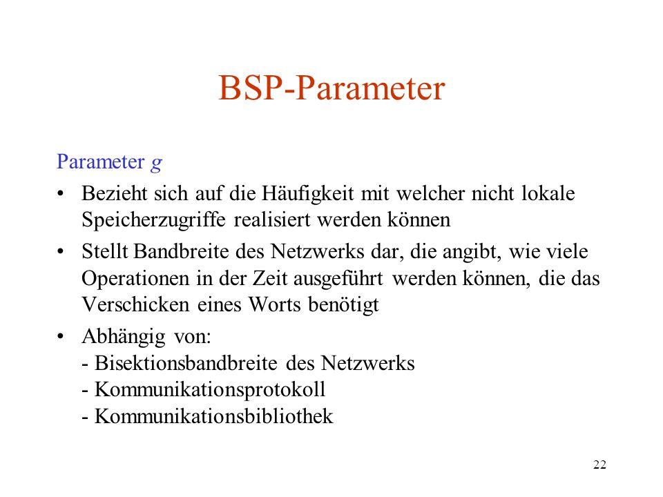 22 BSP-Parameter Parameter g Bezieht sich auf die Häufigkeit mit welcher nicht lokale Speicherzugriffe realisiert werden können Stellt Bandbreite des