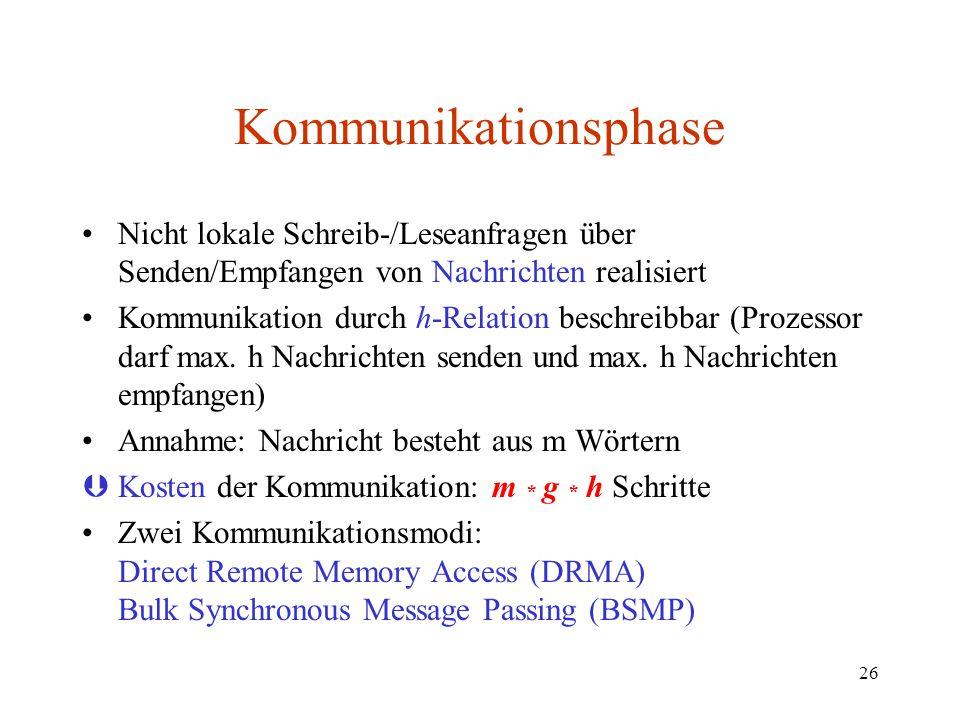 26 Kommunikationsphase Nicht lokale Schreib-/Leseanfragen über Senden/Empfangen von Nachrichten realisiert Kommunikation durch h-Relation beschreibbar
