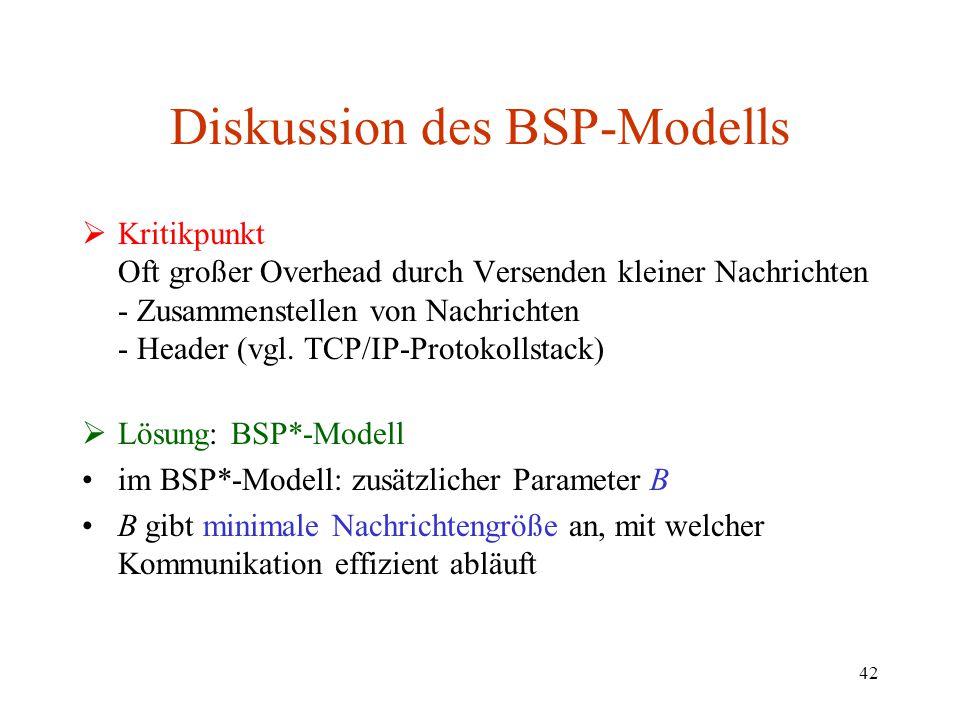 42 Diskussion des BSP-Modells  Kritikpunkt Oft großer Overhead durch Versenden kleiner Nachrichten - Zusammenstellen von Nachrichten - Header (vgl. T