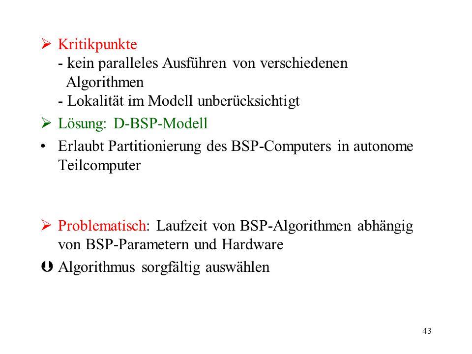43  Kritikpunkte - kein paralleles Ausführen von verschiedenen Algorithmen - Lokalität im Modell unberücksichtigt  Lösung: D-BSP-Modell Erlaubt Part