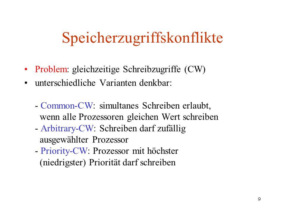 9 Speicherzugriffskonflikte Problem: gleichzeitige Schreibzugriffe (CW) unterschiedliche Varianten denkbar: - Common-CW: simultanes Schreiben erlaubt,