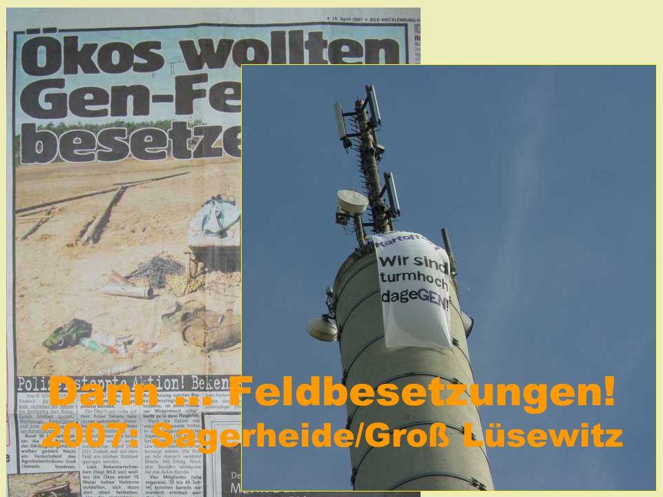 """Zuerst: Feldbefreiungen 2005: """"Gendreck weg!"""" bei Strausberg 2006 in Oberboihingen und Gießen... später """"Gendreck weg!"""" in Badingen 2007: """"Gendreck we"""