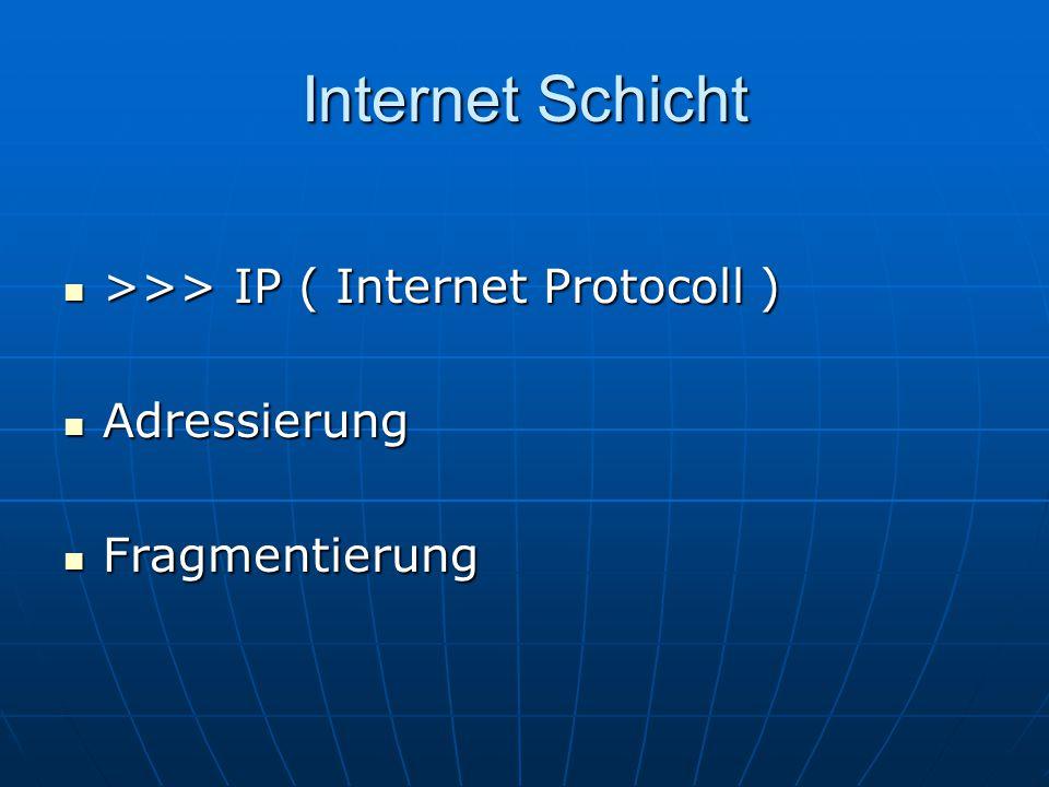 Internet Schicht >>> IP ( Internet Protocoll ) >>> IP ( Internet Protocoll ) Adressierung Adressierung Fragmentierung Fragmentierung