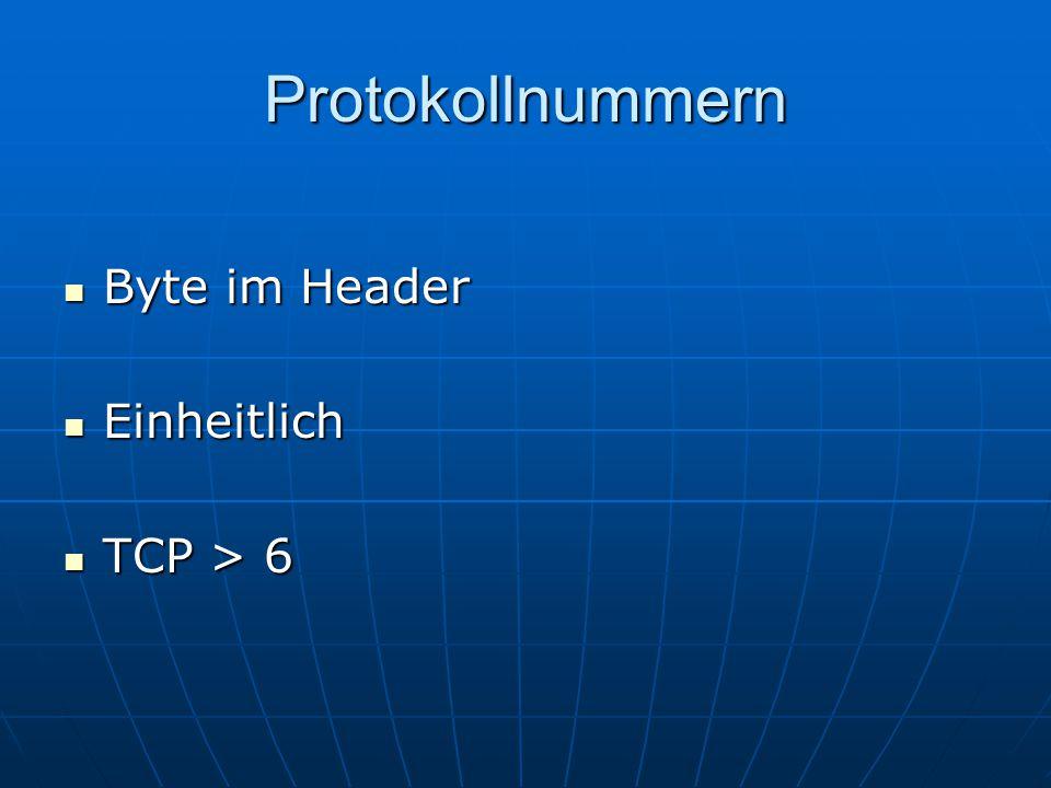 Protokollnummern Byte im Header Byte im Header Einheitlich Einheitlich TCP > 6 TCP > 6