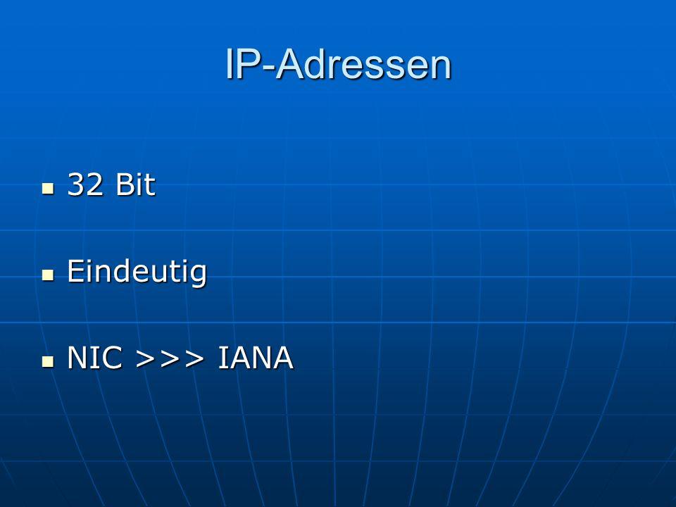 IP-Adressen 32 Bit 32 Bit Eindeutig Eindeutig NIC >>> IANA NIC >>> IANA