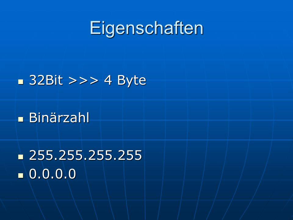 Eigenschaften 32Bit >>> 4 Byte 32Bit >>> 4 Byte Binärzahl Binärzahl 255.255.255.255 255.255.255.255 0.0.0.0 0.0.0.0