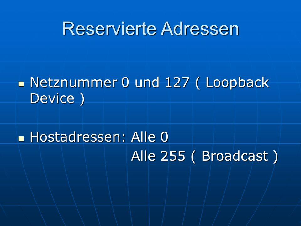 Reservierte Adressen Netznummer 0 und 127 ( Loopback Device ) Netznummer 0 und 127 ( Loopback Device ) Hostadressen: Alle 0 Hostadressen: Alle 0 Alle