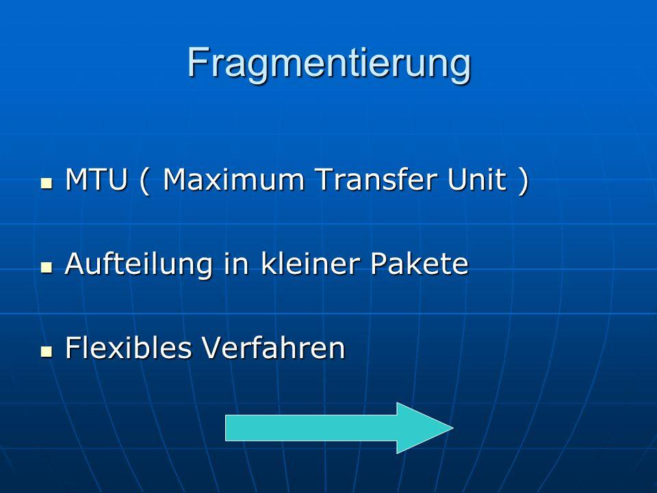 Fragmentierung MTU ( Maximum Transfer Unit ) MTU ( Maximum Transfer Unit ) Aufteilung in kleiner Pakete Aufteilung in kleiner Pakete Flexibles Verfahr