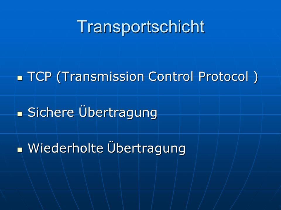 Transportschicht TCP (Transmission Control Protocol ) TCP (Transmission Control Protocol ) Sichere Übertragung Sichere Übertragung Wiederholte Übertra