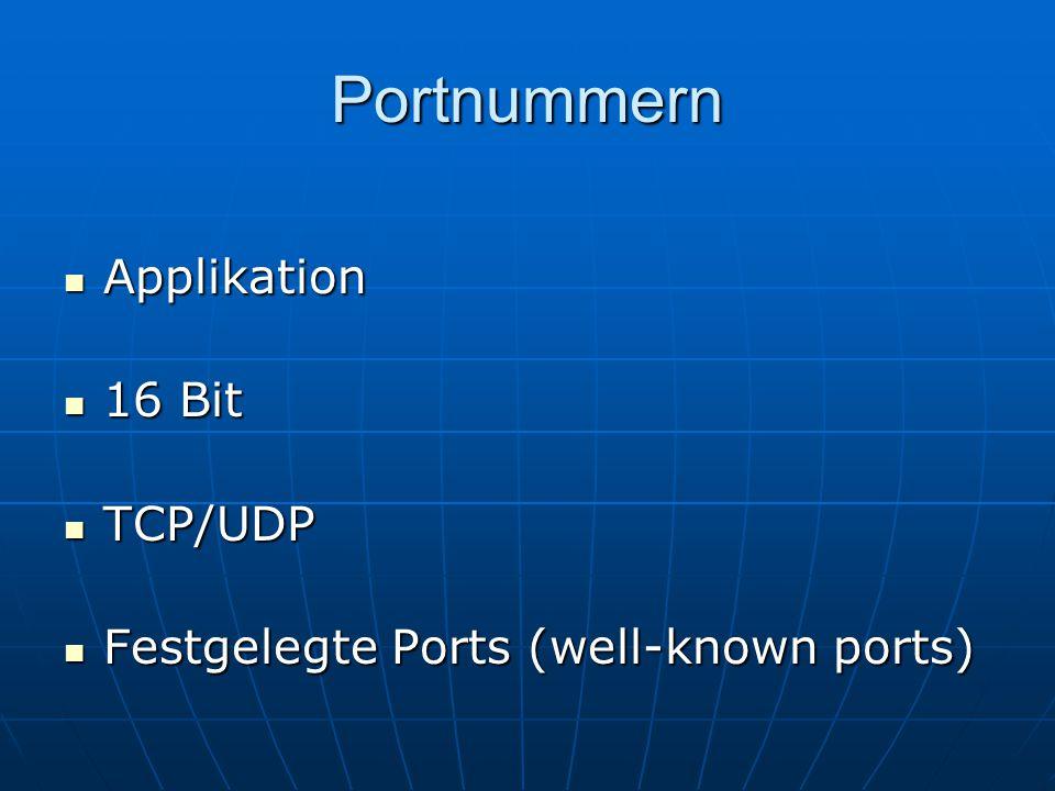 Portnummern Applikation Applikation 16 Bit 16 Bit TCP/UDP TCP/UDP Festgelegte Ports (well-known ports) Festgelegte Ports (well-known ports)