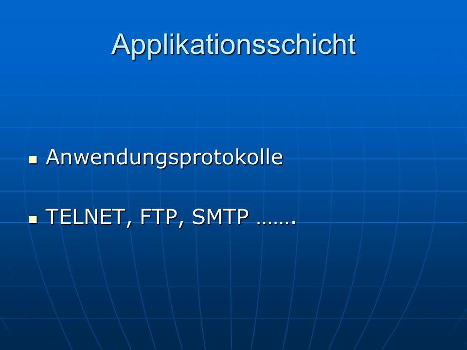 Applikationsschicht Anwendungsprotokolle Anwendungsprotokolle TELNET, FTP, SMTP ……. TELNET, FTP, SMTP …….