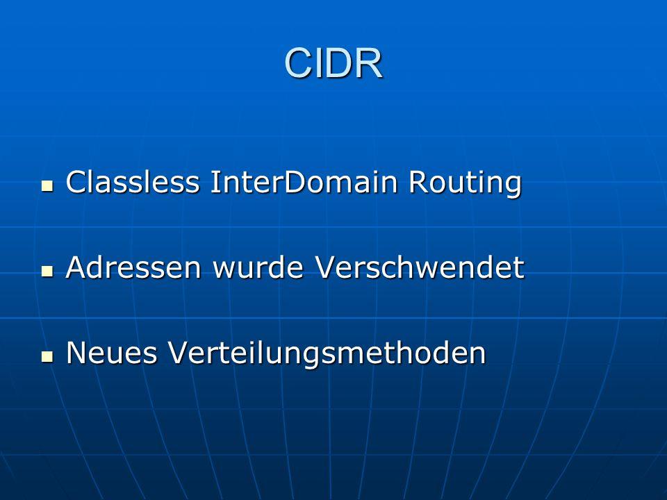 CIDR Classless InterDomain Routing Classless InterDomain Routing Adressen wurde Verschwendet Adressen wurde Verschwendet Neues Verteilungsmethoden Neu