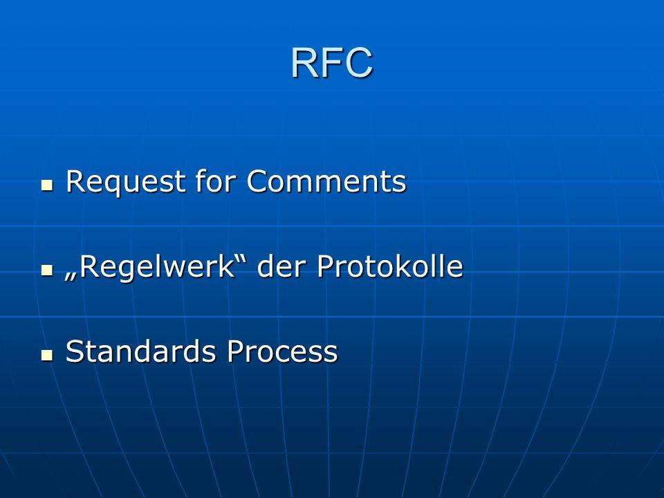 "RFC Request for Comments Request for Comments ""Regelwerk"" der Protokolle ""Regelwerk"" der Protokolle Standards Process Standards Process"